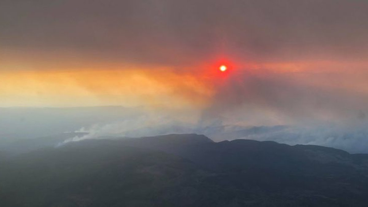 The lightning-caused Backbone Fire is burning about 12 miles west of Pine, Arizona.