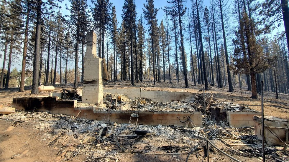 A home west of Pleasant Valley Road in Alpine County destroyed by the Tamarack Fire.