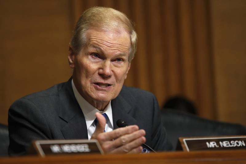 FILE - In this June 26, 2018 file photo, Sen. Bill Nelson, D-Fla., asks questions during a...