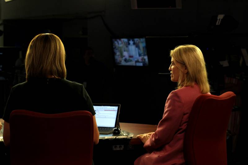 Jennifer Kielman visits with Greta Van Susteren on the KLTV News set. (Source: Austin Sandy,...