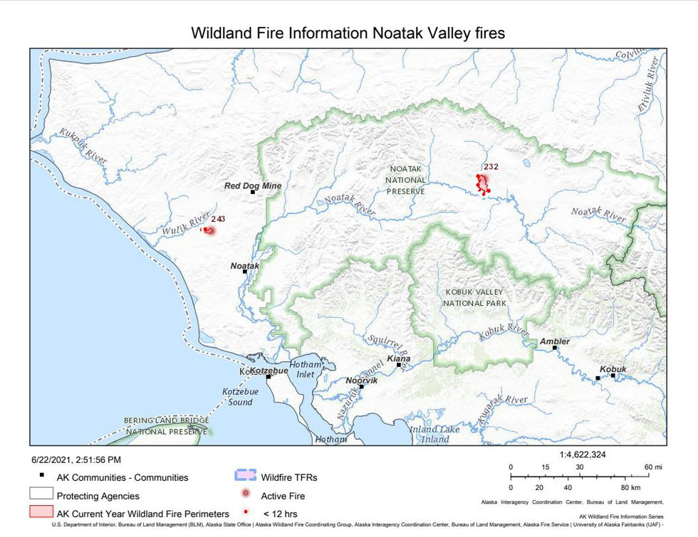 This map shows the location of the Tutak Creek fire and Noatak River fire in the Northwest...
