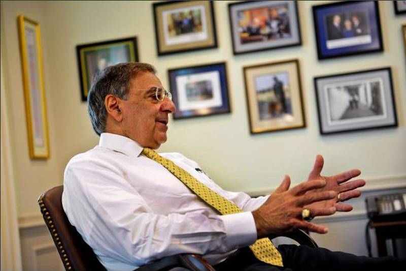 Defense Secretary Leon E. Panetta responds to a question from a member of the military press in...