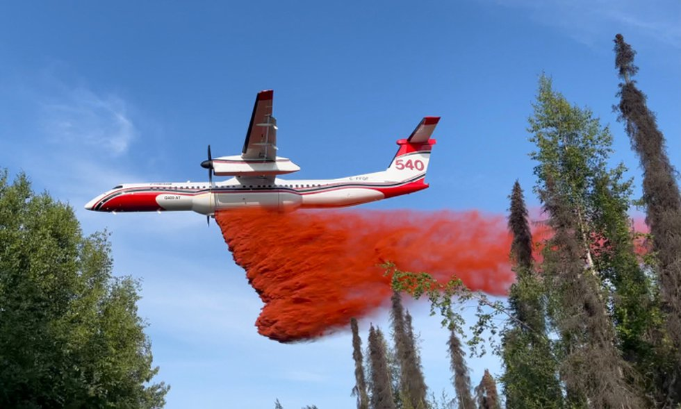 Retardant is dropped on the Lichen fire, a small wildfire north of Willow, Alaska, on July 4,...
