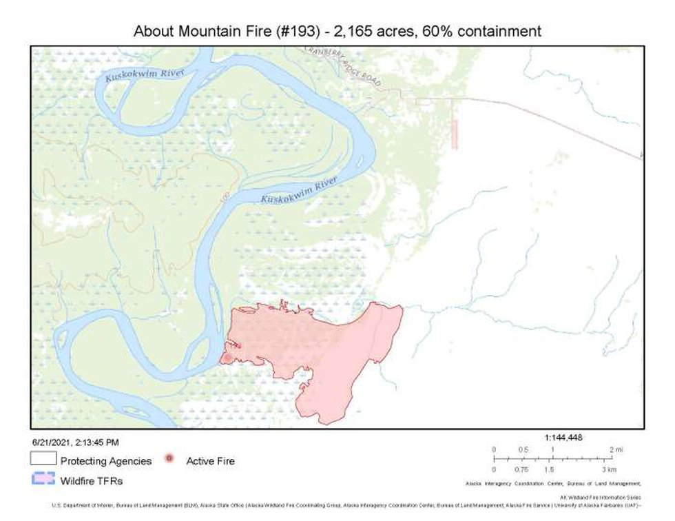 This map shows the perimeter of the 2,165-acre About Mountain fire approximately 6 miles south...