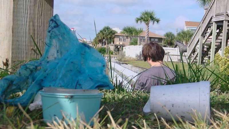 trash building up North Myrtle Beach water ways