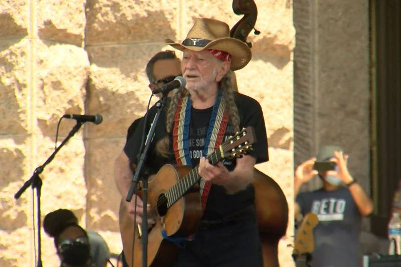 Willie Nelson performed at a voting rights rally at the Texas state capitol in Austin.